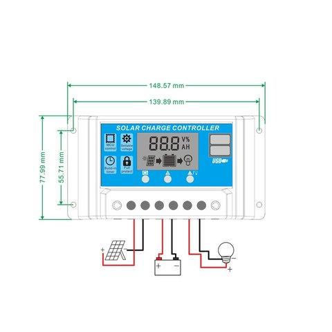 Контролер заряджання фотомодуля PVI-PWM-10A (10 A) Прев'ю 3